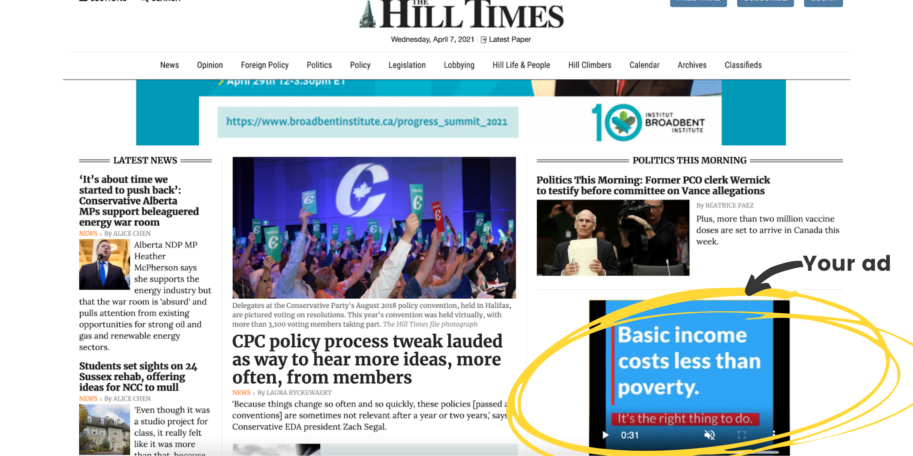 Screenshot of the basic income video ad on the Hill Times website
